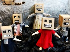 Cardboard box masks.                                      Gloucestershire Resource Centre http://www.grcltd.org/scrapstore/