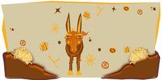 """Ilustración de la nota """"EL ASNO DE BURIDÁN""""    """"... liberado el animal, se lo colocó exactamente a mitad de camino entre dos montones de heno completamente idénticos. El asno, incapaz de encontrar una razón para elegir una de las dos opciones, dudó hasta morir de hambre....."""""""