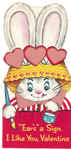 Bunny Rabbit Paints Fence Vintage Valentine Die-Cut Flocked Card for Children by Birdhouse Books on Etsy