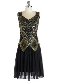 Gal About Chi-town Dress - Long, Chiffon, Woven, Black, Gold, Beads, Cutout, Sequins, Party, Cocktail, Holiday Party, Vintage Inspired, 20s,...