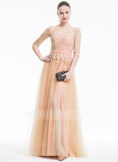 [US$ 164.99] A-Line/Princess Scoop Neck Floor-Length Tulle Evening Dress With Appliques Lace Split Front