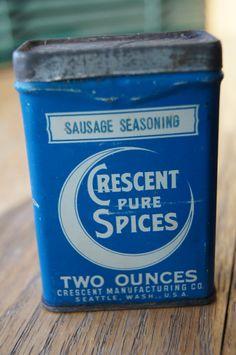 Vintage Antique Spice Tin CRESCENT moon Sausage Seasoning