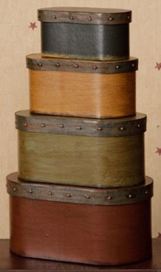 Country Folk Art PRIMITIVE BURGUNDY BLACK MUSTARD SAGE Nesting Stacking Boxes  #Country