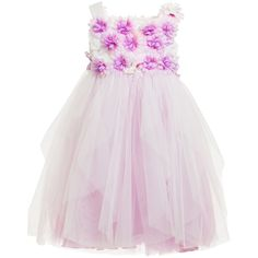 White Tulle Dress with Flower Bodice, Aletta, Girl