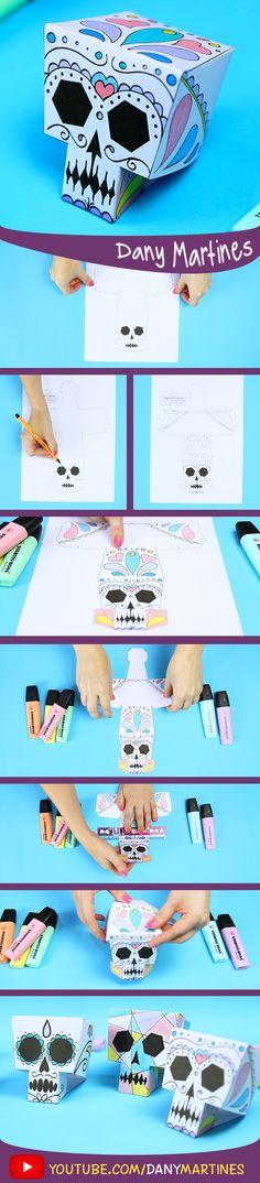 Faça você mesmo uma cae papel para decorar, papercraft, caveira mexicana, DIY, Do it yourself, Dany Martines