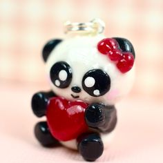 Panda Bear Kawaii Charm Polymer Clay Handmade Jewelry by Sweet Clay Creations