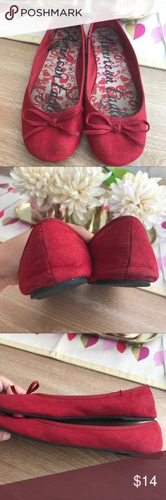 🚨PRICE FIRM🚨AMERICAN EAGLE DOROTHY RED FLATS RED 💗Condition: Used condition. All flaws noted on picture. Small scuff ok the back in one pair. Super comfortable shoes and very nice fabric.  💗Smoke free home/Pet hair free 💗No trades, No returns 💗No modeling  💗Shipping next day. Beautiful package! 💗I LOVE OFFERS, offer me! 💗ALL ITEMS ARE OWNED BY ME. NOT FROM THRIFT STORES 💗All transactions video recorded to ensure quality.  💗Ask all questions before buying (a-bin) American Eagle by…