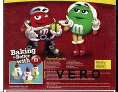2012 magazine ad M&M's BAKING IS BETTER mms M&M recipe SNOWMAN CUPCAKES print