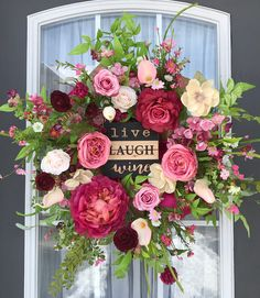 Love all the shades of pink in the flowers. Spring Wreath- Summer Wreath- Everyday Wreath http://etsy.me/2FZNt9D #pink y #gold #floralwreath