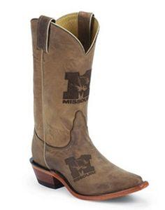 Nocona Univ Missouri Brown Branded Style Women Boots LDUM11