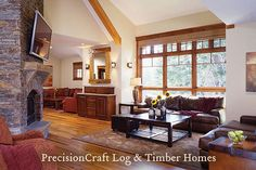 Timber Frame Home Great Room | by PrecisionCraft Timber Frame Homes | Flickr - Photo Sharing!