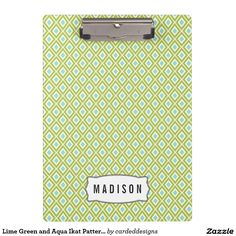 Lime Green and Aqua Ikat Pattern Monogram Clipboard