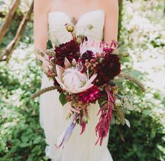 Unique Deep Red Wedding Flowers - Since it is in the front of this arch that lots of magic and touching moments happen, having a perfect wedding rings i. Protea Wedding, Red Bouquet Wedding, Red Wedding Flowers, Bridesmaid Bouquet, Floral Wedding, Deep Red Wedding, Deer Wedding, Burgundy Wedding, Perfect Wedding