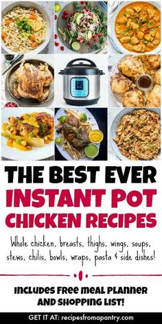 This is the Ultimate List of Instant Pot Chicken Recipes! From chicken breasts thighs and wings to soups pasta and even a whole chicken these pressure cooker chicken recipes come together easily and deliver sooooo much flavour. Instant Pot Chicken Thighs Recipe, Best Instant Pot Recipe, Instant Pot Dinner Recipes, Instant Recipes, Pressure Cooker Chicken, Instant Pot Pressure Cooker, Pressure Cooking, Pasta Side Dishes, Lamb Dishes