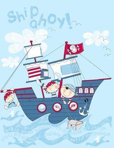 Cuadro: barco, piratas, tesoro