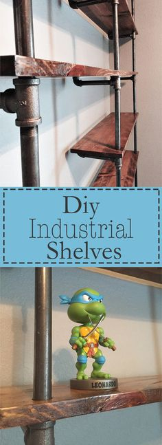 Step-by-step diy tutorial on how to make Industrial pipe shelves. These look great in an office and you can stain them whatever color you like!