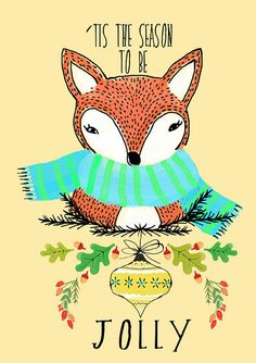 jolly fox - so cute! The pattern and illustration style and bright colours links most of this Pinterst page together! Christmas Time Is Here, Merry Little Christmas, Vintage Christmas Cards, Christmas Love, Christmas Greetings, Winter Christmas, Christmas Crafts, Illustration Photo, Illustrations