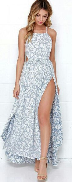 8e4f309498a3b Billabong Sounds of the Sea Blue and Ivory Print Maxi Dress I like this  dress fro a maxi but can bypass such a high slit and it would need some  sort of ...