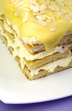 Postres - desserts - White Opéra Cake with Lemon Butter Cream, White Chocolate Mousse & Almonds Lemon Recipes, Sweet Recipes, Cake Recipes, Dessert Recipes, Cupcakes, Cupcake Cakes, Just Desserts, Delicious Desserts, Opera Cake