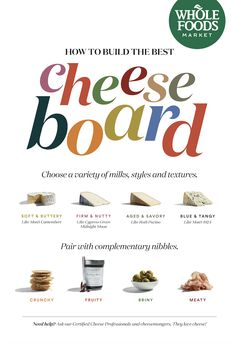 Need help building a winning cheese board? Use this handy guide, or ask one our Certified Cheese Professionals and cheesemongers in-store. Cheese Recipes, Veggie Recipes, Whole Food Recipes, Cooking Recipes, Whole Foods List, Whole Foods Market, Cheese Pairings, Best Cheese, Tea Sandwiches