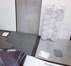 Beaumont Tiles Selection. Grey. Love the hexagon details