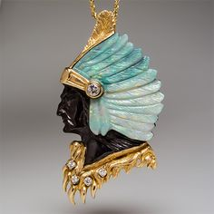 Hand Carved Opal Indian Pendant w/ Diamonds 14K Gold