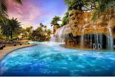 ✶ POOLS OF LAS VEGAS, NEVADA: The Mirage is a room Polynesian-themed hotel and night club placed on the Las Vegas Strip. The pool and waterfalls definitely create tropical feeling. Las Vegas Hotel Deals, Las Vegas Resorts, Las Vegas Blvd, Best Pools In Vegas, Mirage Hotel, Las Vegas With Kids, York Hotels, Family Pool, Las Vegas Shows
