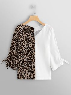 Casual Knot Leopard Shirt Regular Fit V Neck Long Sleeve Placket Multicolor Regular Length Leopard Panel Knot Cuff Blouse Blouse Styles, Blouse Designs, Xl Mode, Trendy Fashion, Womens Fashion, Girl Fashion, Spring Shirts, Printed Blouse, Shirt Blouses