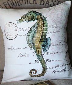 Cotton and Burlap Pillow Cover Beach Decor Pillow by JolieMarche