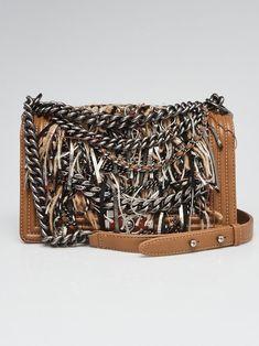 20cc5a39c18e Chanel Brown Leather and Tweed Enchained Medium Boy Bag - Yoogi s Closet  Handmade Handbags