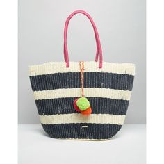 Nali Striped Straw Bag With Multi Color Pom Pom (€20) ❤ liked on Polyvore featuring bags, handbags, multi, multi color handbag, colorful purses, striped handbags, white handbags and white bag