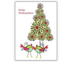 Süße Weihnachtskarte mit verliebten Vögeln und Weihnachtsbaum - http://www.1agrusskarten.de/shop/suse-weihnachtskarte-mit-verliebten-vogeln-und-weihnachtsbaum-frohe-weihnachten/    00000_1_2420, Grusskarte, Klappkarte Rentier, Santa Sterne, Schneemann, Tanne, Weihnachtsbaum Engel, Weihnachtsmann, Winter00000_1_2420, Grusskarte, Klappkarte Rentier, Santa Sterne, Schneemann, Tanne, Weihnachtsbaum Engel, Weihnachtsmann, Winter