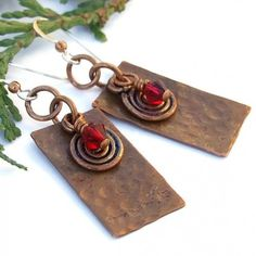 Hammered Copper Spiral Siam Swarovski Handmade Earrings Beaded Jewelry, by ShadowDogDesigns