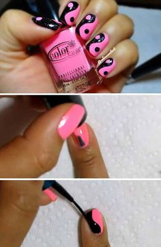 Short nails art Pink & Black Yin Yang 22 Easy Nail Art Designs for Short Nails - Home decor Trendy Nail Art, Nail Art Diy, Easy Nail Art, Diy Nails, Nail Art Designs Videos, Simple Nail Art Designs, Short Nail Designs, Do It Yourself Nails, How To Do Nails