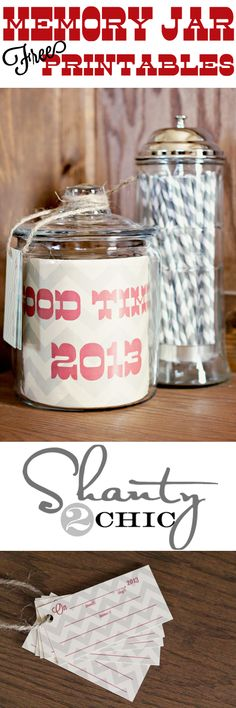 Memory Jar for 2013.  Write down great things that happen in 2013 ~ open up and read on New Year's Eve!  FREE Printables!