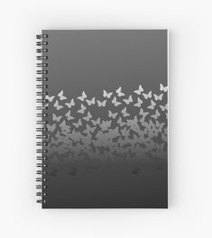 ) Gray on black insects pattern' Spiral Notebook by cool-shirts
