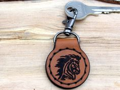 Keychain Key Fob KeyHolder Horse  Personalized Natural Leather  Monogram  Keyring carabiner Gift for Him Her Boyfriend Father Mother Horse