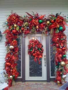 large christmas door surround i would do away with the door wreath it - Decorated Christmas Wreaths Pinterest