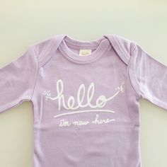 Hello I'm New Here  Funny text baby one piece 36 mo  by eggagogo, $18.00
