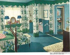 1940s decor bedroom Clever use of curtains and molding in a master bedroom to make room for baby.  LOVE.