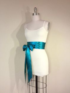 Light Teal Satin Sash Deep Turquoise Satin Sash Teal Sash