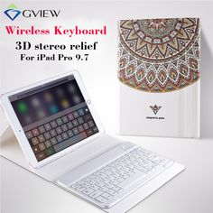 For iPad pro 9.7 Tablet Case with Bluetooth Keyboard 3D Relief Paint Leather case Coverfor iPad Pro 9.7 Protective Stand cases