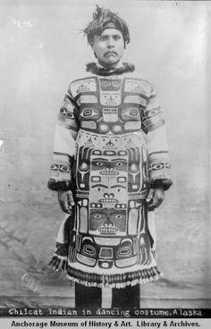 Chilcat [sic] Indian in dancing costume, Alaska. :: Anchorage Museum at Rasmuson Center