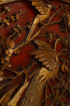 Chinese red and gilt lacquered king-sized headboard (detail), 19th century