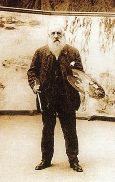 Claude Monet en su taller, hacia 1920 -Claude Monet was a founder of French impressionist painting, and the most consistent and prolific practitioner of the movement's philosophy of expressing one's perceptions before nature, especially as applied to plein-air landscape painting.