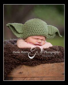 Yoda crochet Beanie Baby Hat. $15.00, via Etsy. Stop it!!