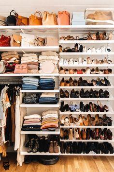 His and hers master closet design, closet organization Wardrobe Organisation, Organization Hacks, School Organization, Clothing Closet Organization, Wardrobe Storage, Organizing Ideas, Shoe Storage In Closet, Kitchen Organization, Organizing Shoes