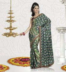 Jacquard crepe(turkey material) green colour designer #saree #sari is what you're looking for.