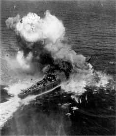 The Japanese destroyer Akishimo takes a direct hit at the battle of Ormoc Bay. Pro Patria Mori