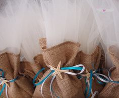 3523 - Μπομπονιέρα Γάμου πουγκί λινάτσα